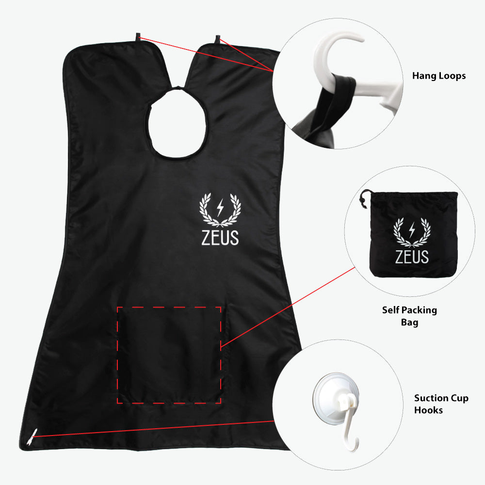 Zeus Facial Hair Trimming Catcher Bib Beard Apron, Black