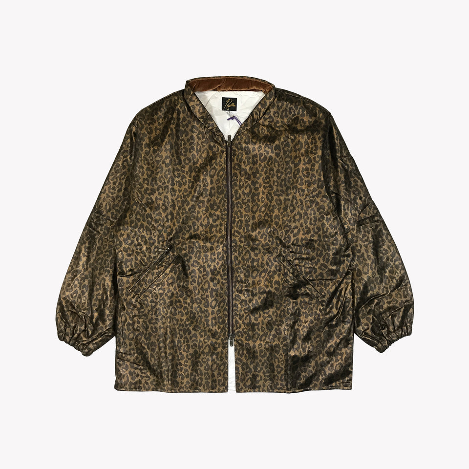 METALLIC LEOPARD BOMBER JACKET