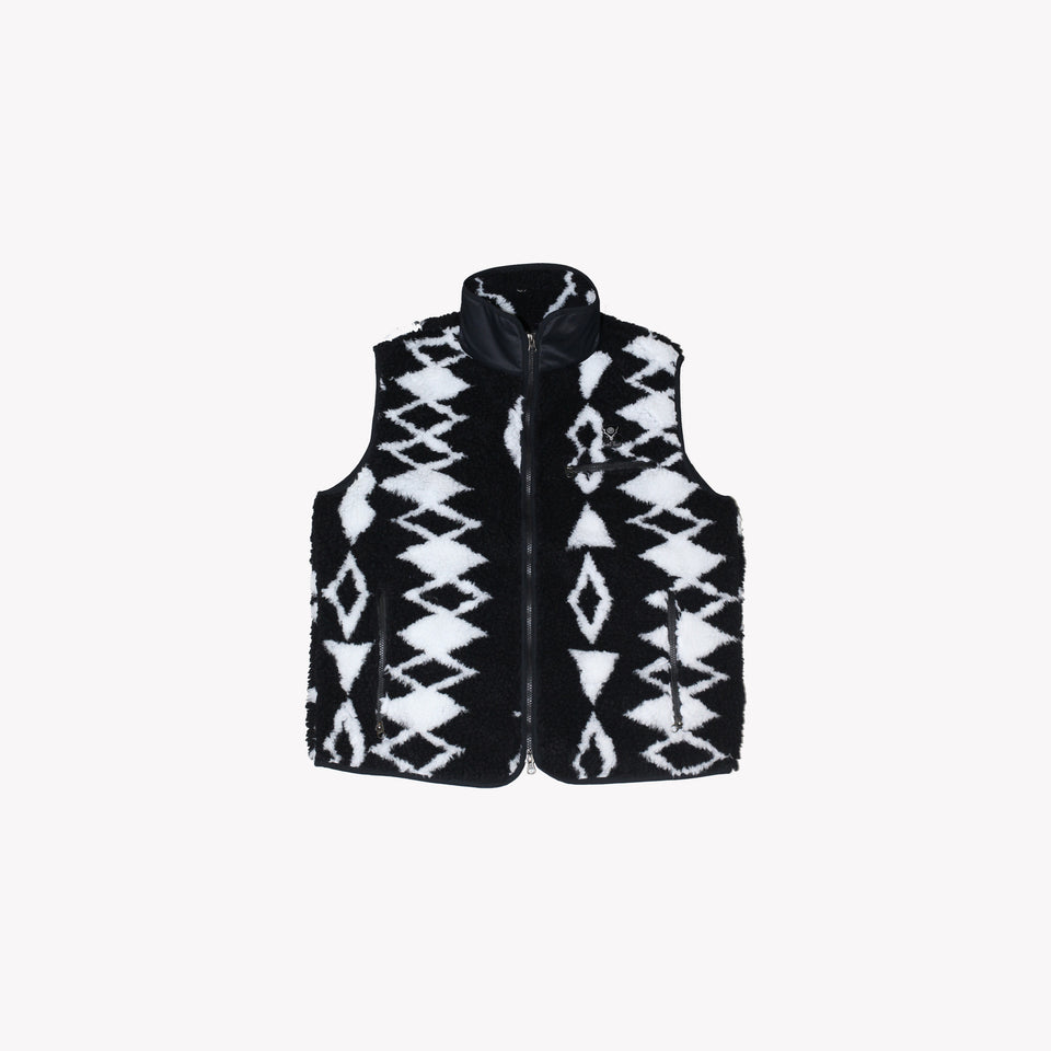 PILE PIPING VEST BLACK / WHITE