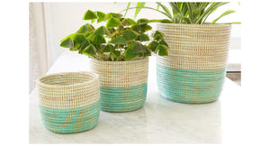 Single or Set of 3 | Aqua Blue Dip Plant Bins
