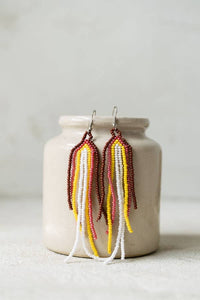 Autumn Dangles | Beaded Sunrise Fringe Earrings