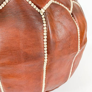Round Moroccan Leather Pouf in Chestnut or Tan | Footstool