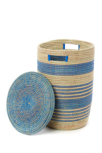 Set of 3 or Individual | Blue Ebb and Flow Striped Hampers