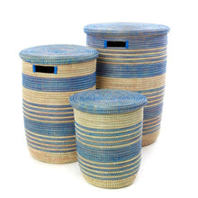 Load image into Gallery viewer, Set of 3 or Individual | Blue Ebb and Flow Striped Hampers
