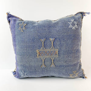 Deep Blue Cactus Silk Moroccan Pillow | 6 Colors