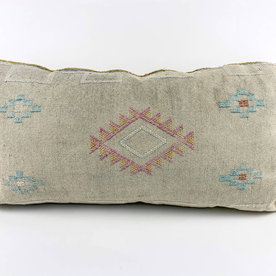 Grey Cactus Silk Moroccan Lumbar Pillow | 6 Colors