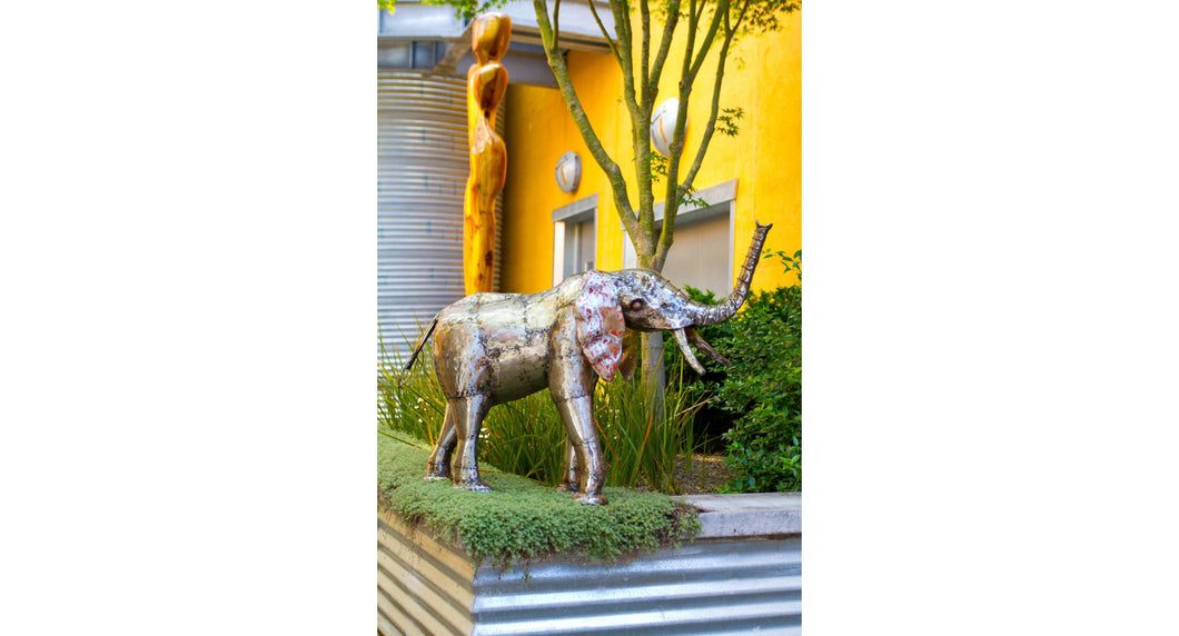 Recycled Metal Elephant Sculpture