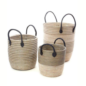 Mixed Stripd Baskets with Dark Leather Handles