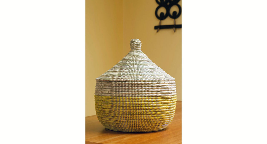 Lemon Dipped Warming Basket | Yellow and White Gift Container