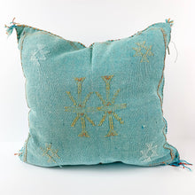 Load image into Gallery viewer, Deep Blue Cactus Silk Moroccan Pillow | 6 Colors