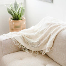 Load image into Gallery viewer, Open Weave Lightweight Cotton Throw w/Fringe