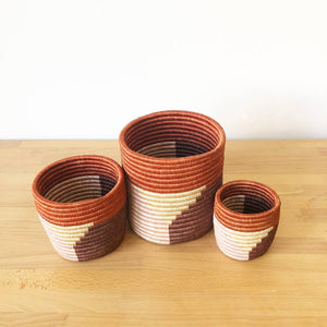 Rust Red Gishamvu Basket Planters (Set of 3)