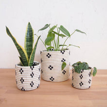 Load image into Gallery viewer, Black & White Maraba Basket Planters (Set of 3)