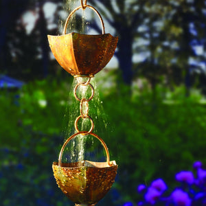 7 ft. Copper-Colored Iron Rain Chain, Adjustable Length, Long-Lasting and Unique