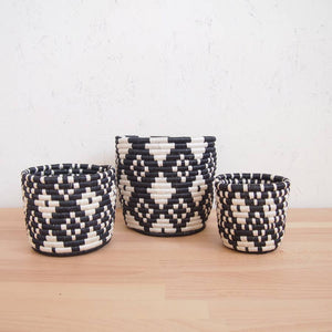 Black & White Ndora Basket Planters (Set of 3)