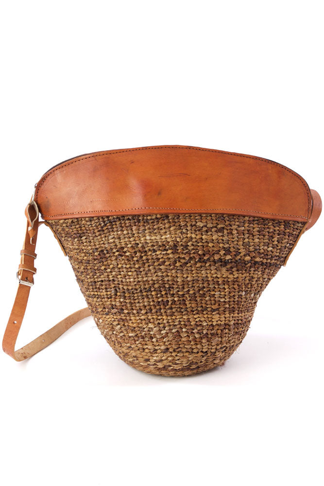 Woven Banana Fiber and Leather Handbag