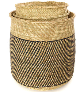 Iringa Baskets with Diagonal Black Stripes