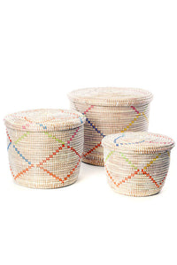 Rainbow Garland Lidded White Storage Baskets (Set of 3)