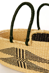 "28""L Ghanaian Wing-Accented Moses Basket with Leather Handles"
