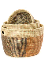 Load image into Gallery viewer, Black, Gold & Cream Sewing Baskets (Set of 3)