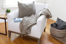 Load image into Gallery viewer, Organic Cotton Mudcloth Throw - Grey Segou Squares + Matching Pillow Cover and Insert