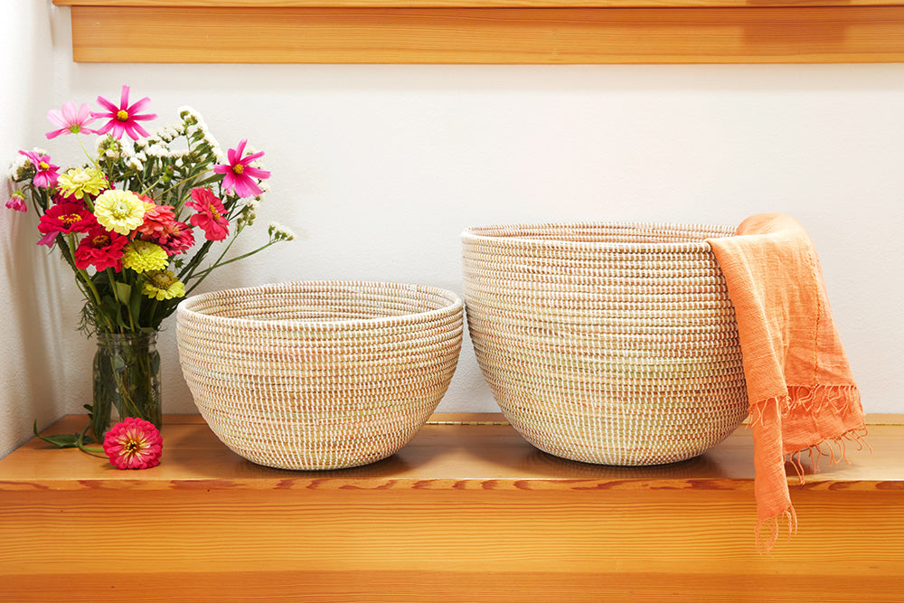 White Deep Nesting Baskets (Single or Set of 2)