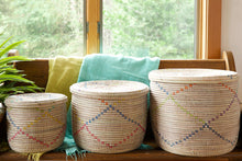 Load image into Gallery viewer, Rainbow Garland Lidded White Storage Baskets (Set of 3)