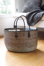 Load image into Gallery viewer, Black Oval Knitting Basket with Leather Handles