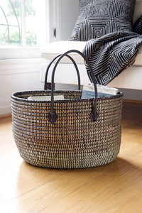 Black Oval Knitting Basket with Leather Handles