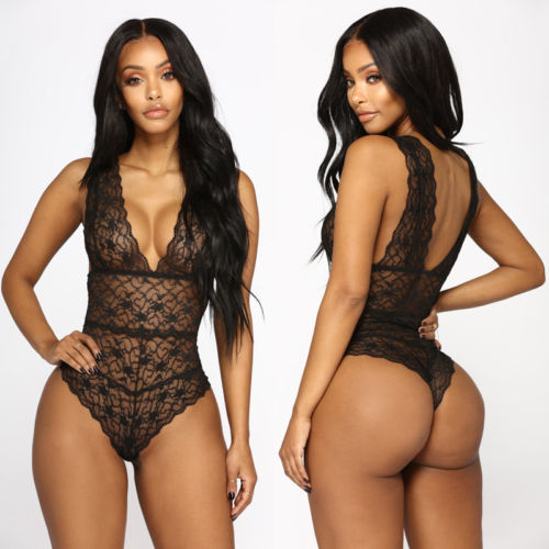 Detailed Lace Thong Bodysuit