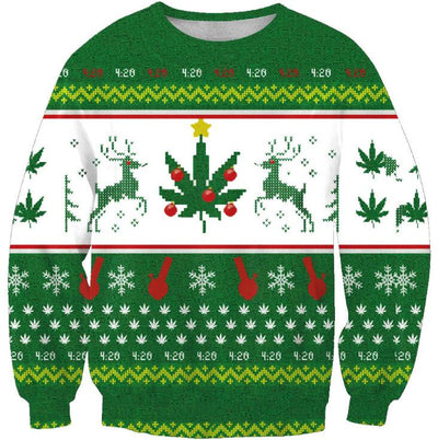 Knitted Green & White Ugly Christmas Sweater
