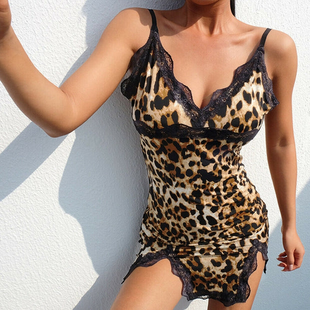 LEOPARD PRINT LACE DETAIL NIGHTIE