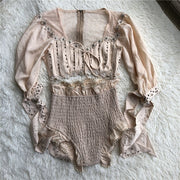 Cream Laced Mini Short & 1/2 sleeve Top