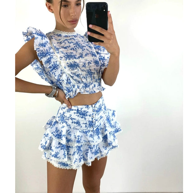 Floral Laced Mini Short Skirt & Top
