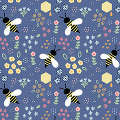 Bee Floral Pattern Repeat Illustration