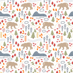 hiking pattern for fabric Kathrin Legg Spoonflower, nature, bears, animals, floral, pattern design