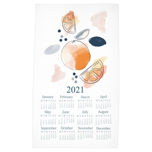 2021 Abstract Orange Tea Towel Calendar