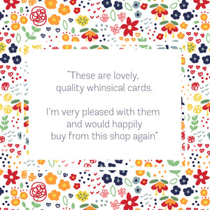 5 Pack of Floral 'Hello' Greeting Cards