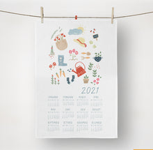 Load image into Gallery viewer, 2021 Springtime Garden Tea Towel Calendar