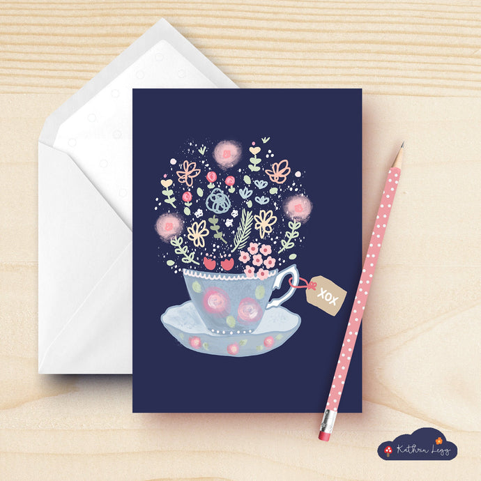 Floral Teacup Blank Card Set
