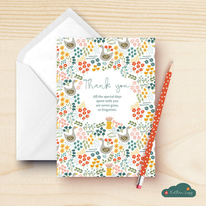 Thank you floral card set
