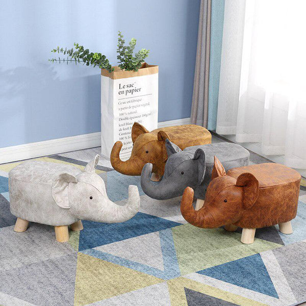 Animal solid wood sofa stool