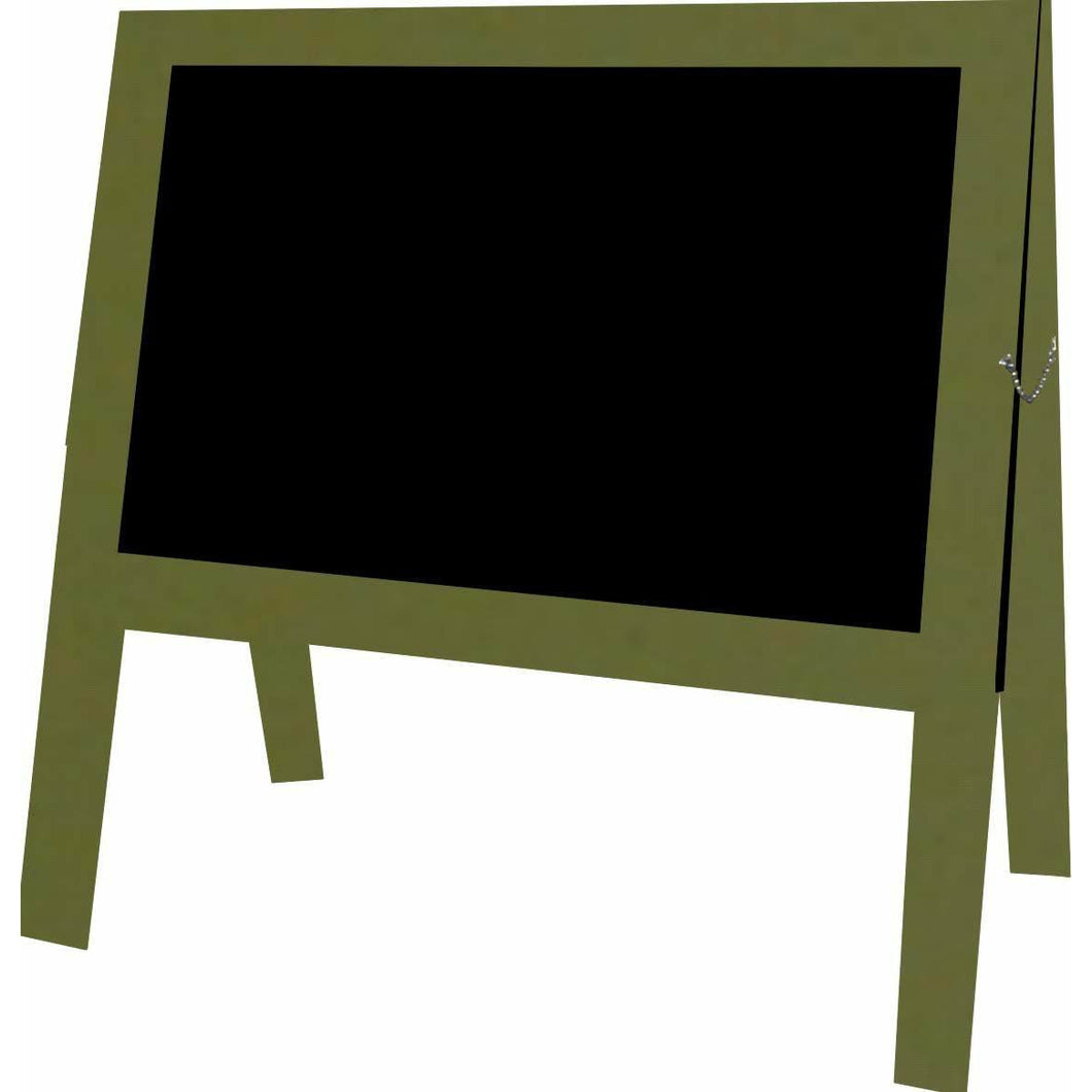 Outdoor Little Peddler Chalkboard Easel - Spanish Olive - With Legs - Wide Orientation