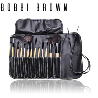 Bobbi Brown 12 pieces Brush Set with a leather pouch