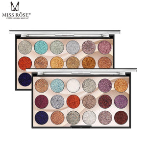 Miss Rose  2 Eyeshadow Palette 18 Colors Glitter Sqin.pk