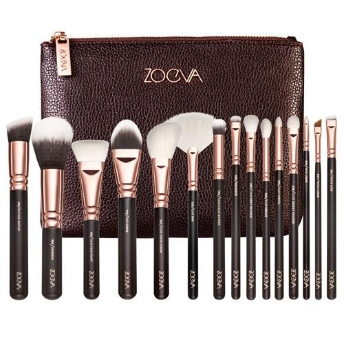 ZOEVA Makeup Brushes (15 Piece Set) with a zip handbag Sqin.pk