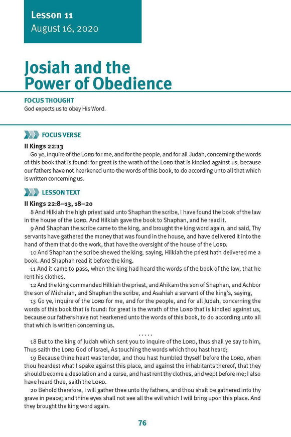 Josiah and the Power of Obedience Lesson 11 Adult Summer 2020 (Download)
