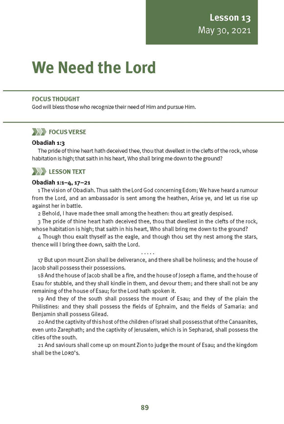 We Need the Lord Lesson 13 Adult Spring 2021 (Download)