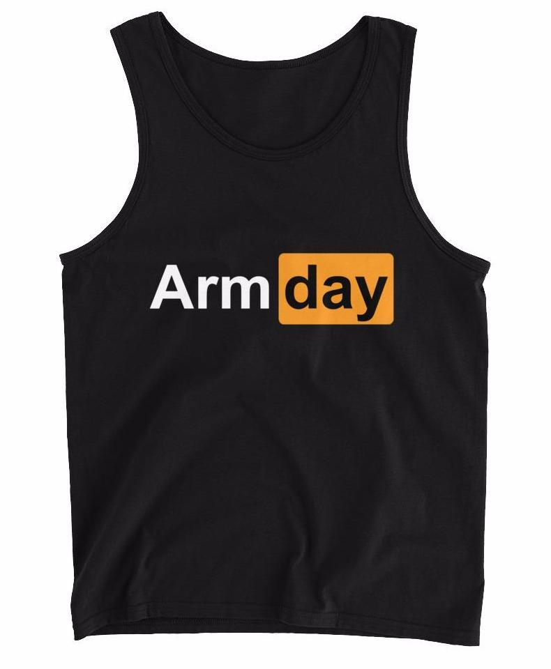 "black ""Arm Day"" tank top"