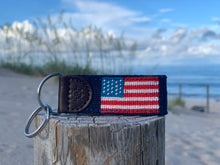Load image into Gallery viewer, American Flag Needlepoint Key Fob